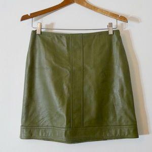 Vintage Skirts - 🆕 Vintage Genuine Leather Olive Green Mini Skirt